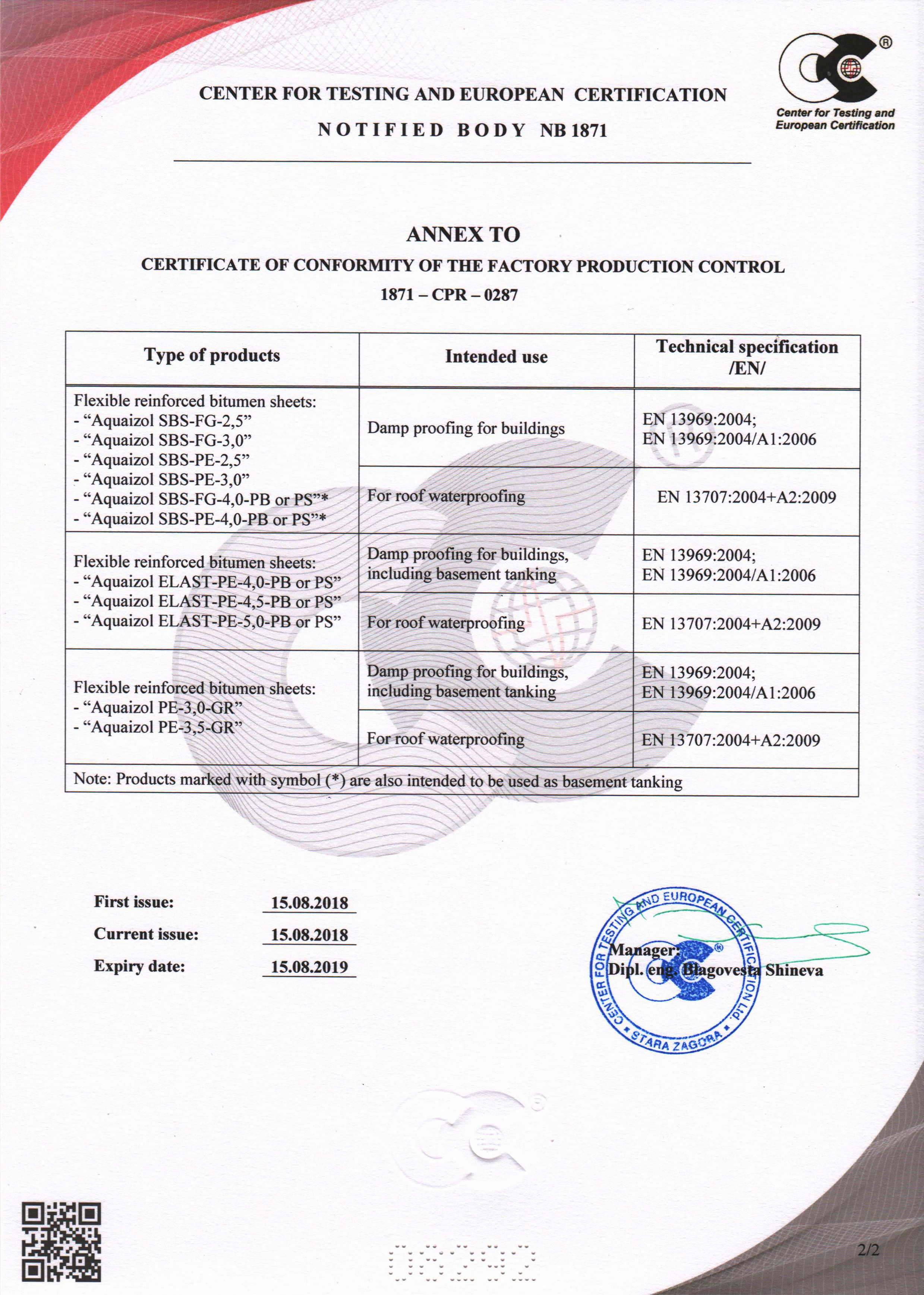 Certificate of conformity of the factory production control